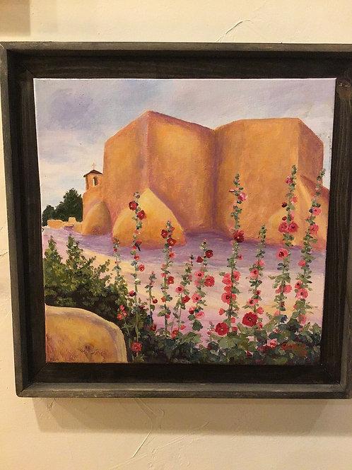 Acrylic Hollyhocks at Ranchos Church