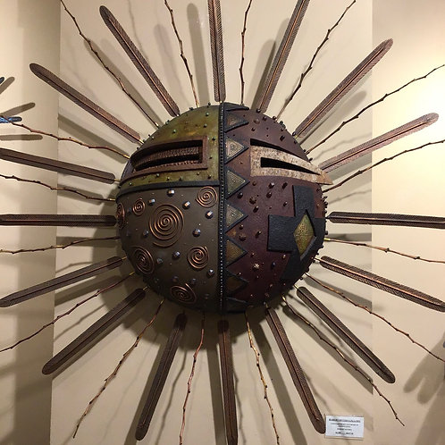 Contemporary Sun Mask w/Coper rays