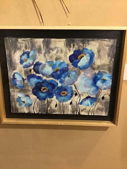 Acrylic Blue Poppies by Mae Shaw