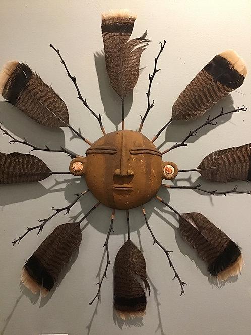 Moche Culture Mask w/ peach earrings