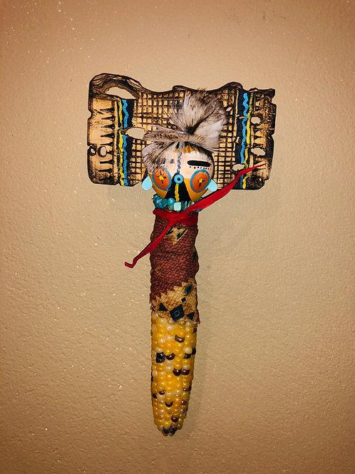 Corn Kachina with Cactus Tableta /White Feathers