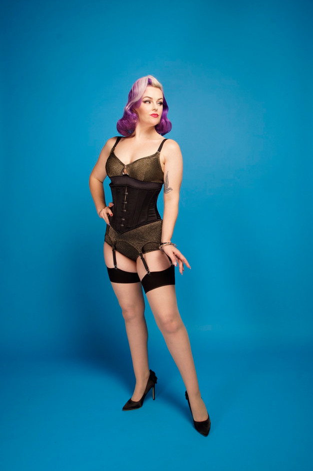 Vintage style bra, suspender belt and big knickers by Pip & Pantalaimon