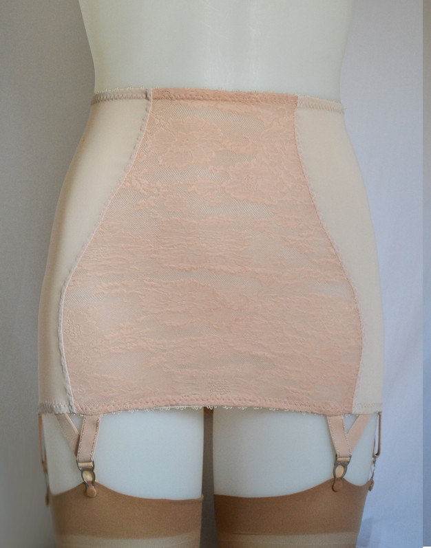 nude lace long line 6 strap girdle, made in the uk by Pip & Pantalaimon