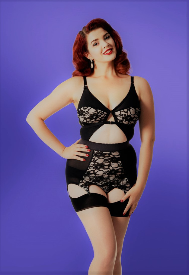 Biscotti and Black lace Corselette with metal suspender clips by Pip & Pantalaimon
