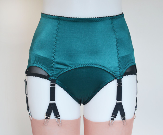 peacock satin Y strap suspender garter belt by pip and pantalaimon