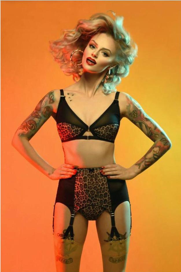 Vintage Leopard Print lingerie and Y strap suspender belt by Pip & Pantalaimon Retro Lingerie