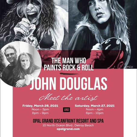 WORLD-RENOWNED DRUMMER & ROCK & ROLL FINE ARTIST JOHN DOUGLAS TO APPEAR IN DELRAY BEACH 3/26-27.