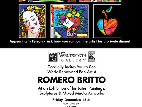 ROMERO BRITTO COMES TO SOUTH FLORIDA FOR THREE EXIBITIONS OF PAINTINGS, SCULPTURES, MIXED-MEDIA ART.