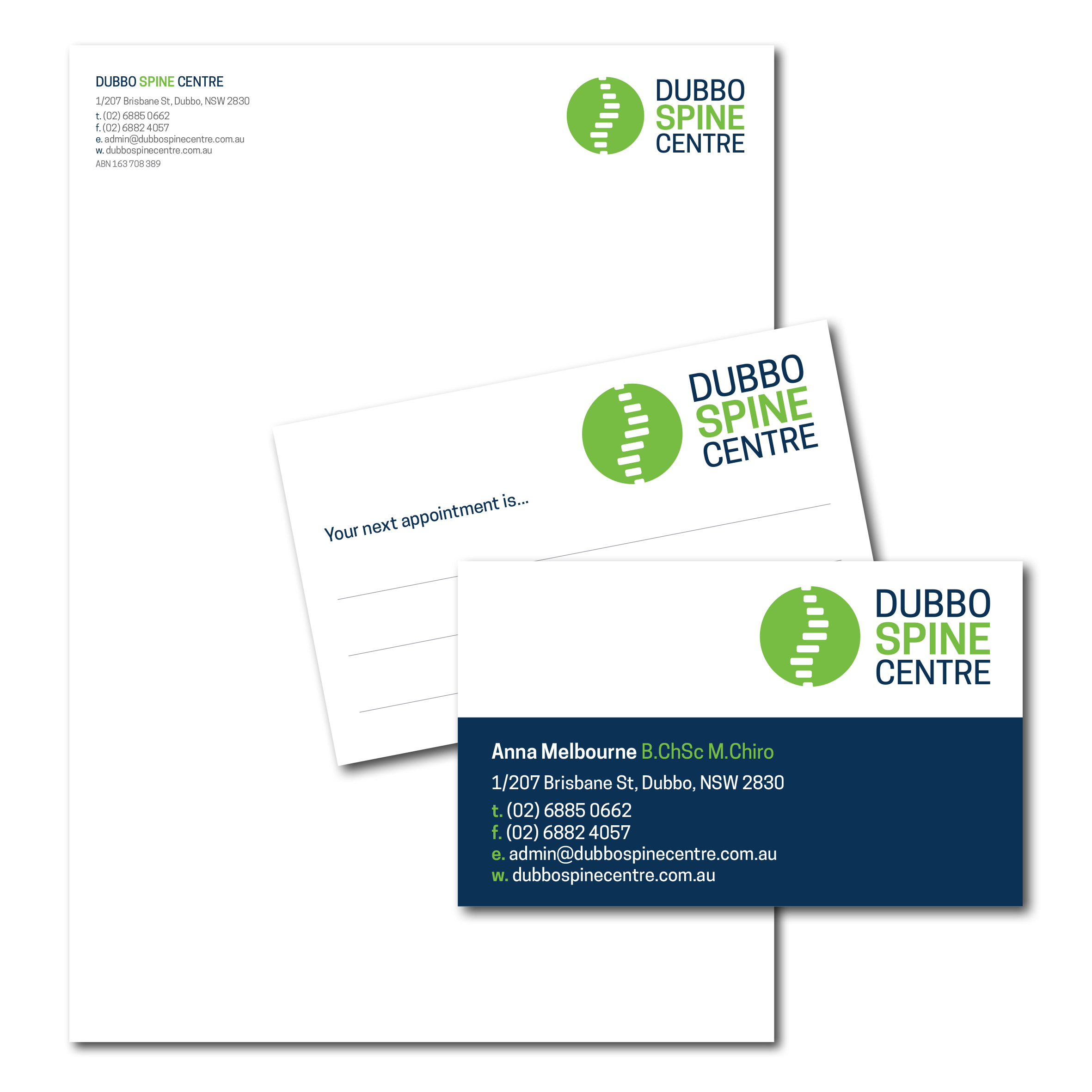 Dubbo Spine Centre logo & stationery