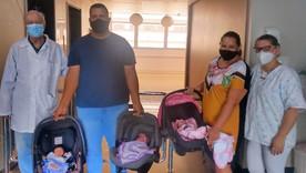 Três dos quadrigêmeos nascidos em Matão receberam alta
