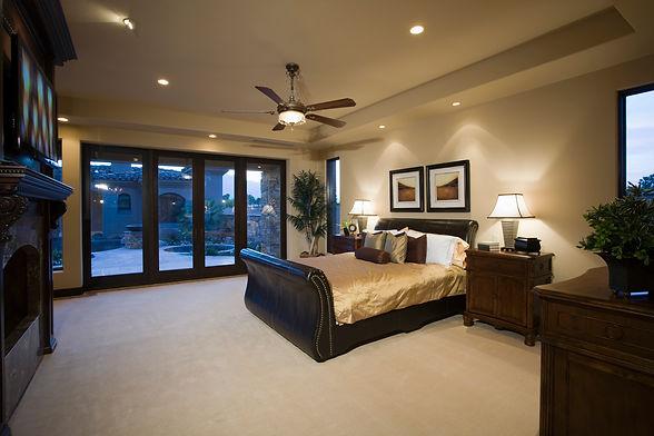 modern lighting ceiling fan in bedroom interior design