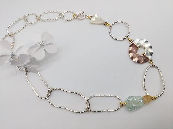 Liquid Silver with Aquamarine and Citrine