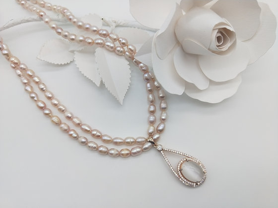 Blush Necklace Pearl with Cats eye