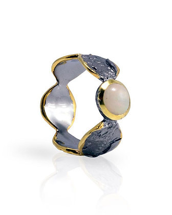 Sea Scape Ring with Pearl