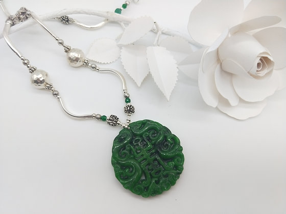 Opulence Silver and Green Jade