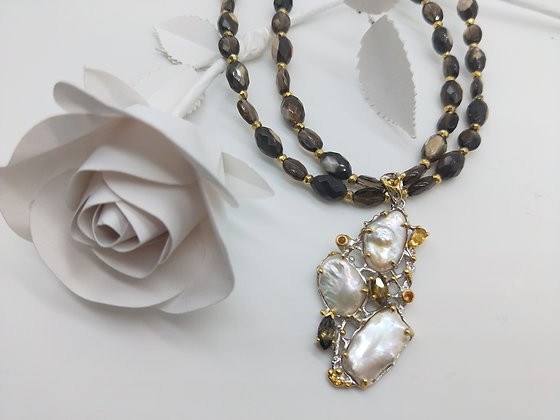 Necklace Mother of Pearl and Baroque Pearl