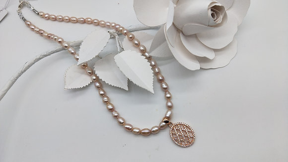 Blush Necklace Pearls and Rose Gold Cubic Zirconia