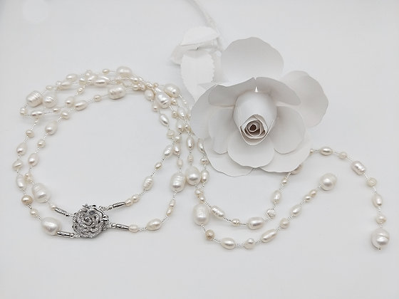 Blush Necklace Pearls and Rose