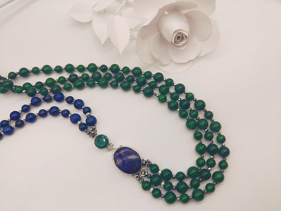 Opulence Green Malachite and Lapis lazuli
