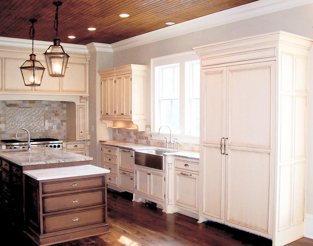 Custom kitchen, beadboard ceiling, custom cabinets, baking station