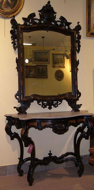 N.17 Consolle con Specchio in Massello di Palissandro e Legno di Rose