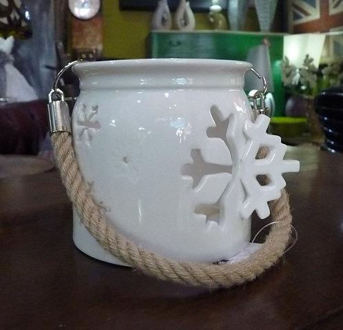 IN15 Portacandela Bianco Fiocco Di Neve