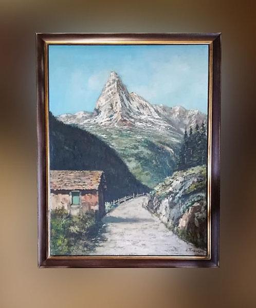 "N.80K""Paesaggio montano""Dipinto olio su tela"