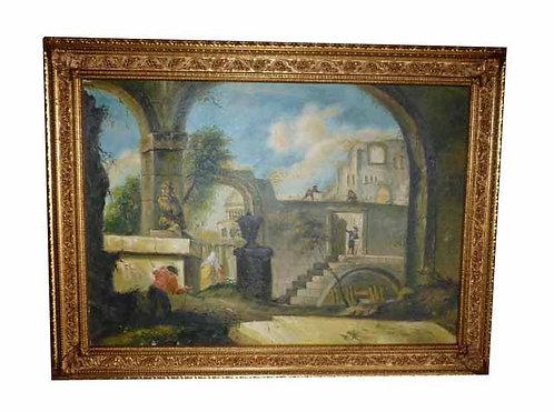 """N.20K """"Architettura Neoclassica"""" dipinto ad olio su tela"""