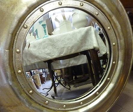 N.188a Specchio rotondo in foglia oro e argento