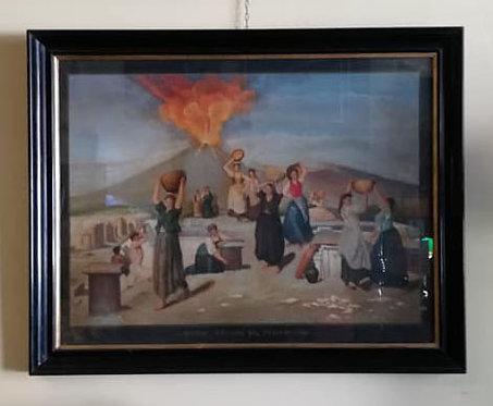 """N.14P """"L'eruzione del Vesuvio"""" dipinto ad olio su tavola '800 napoletano"""