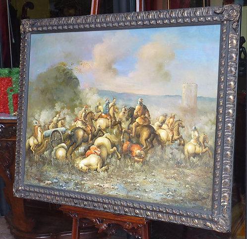 """N.83L """"Scena Di Battaglia""""dipinto ad olio su tela"""