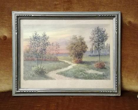 "N.08P ""Paesaggio"" Dipinto ad acquerello"