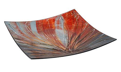 MT236 Piatto In Vetro Quadrato Decorato