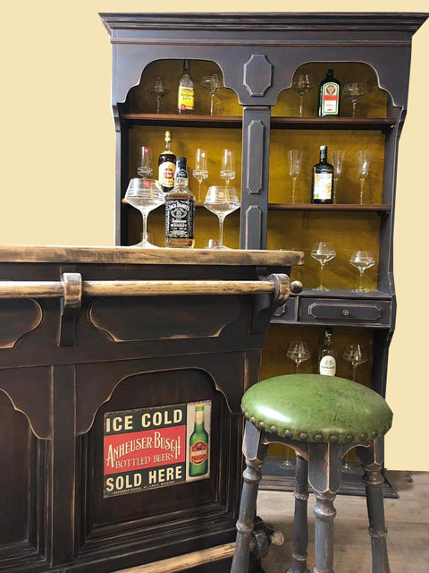 N.362 Mobile Bar Bancone  Stile Shabby Noir