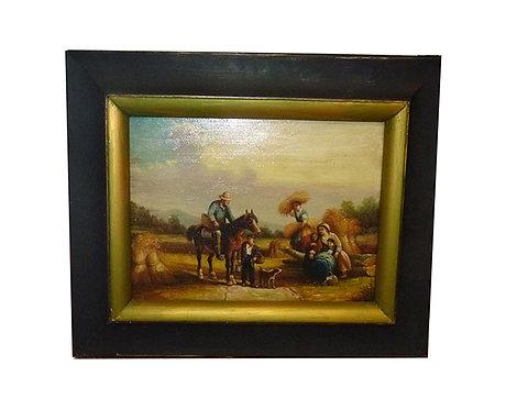"""N.34M Dipinto ad olio su tavola  """"Scena Campestre"""""""