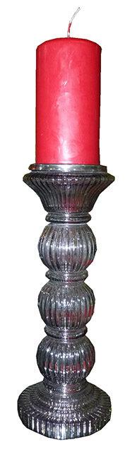 """PT206 Porta Candela Alto In Vetro Lavorato""""Glass Candle"""""""
