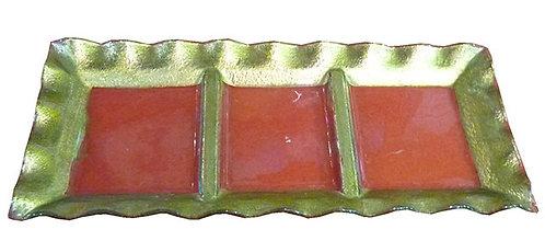 """PT179 Piatto Natalizio Per Antipasto""""Glass Plate Gold"""""""