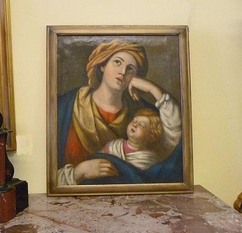 """N.39DA Dipinto Olio Su Tela """"Maternità"""""""
