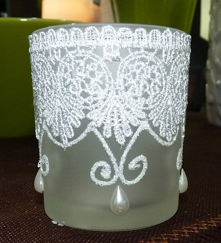 "PT106 PortaCandela Decorato Bianco ""Glass Tea Light"""