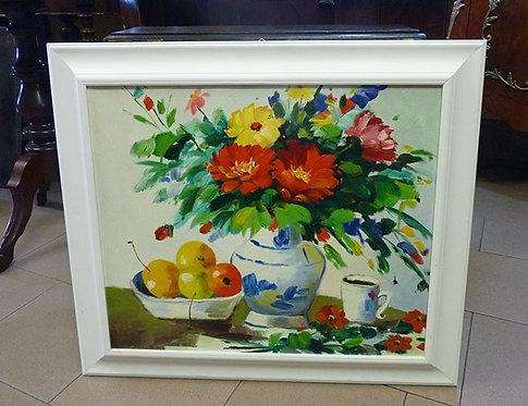 """N.93M Dipinto Olio Su Tela""""Fiori & Frutta"""""""