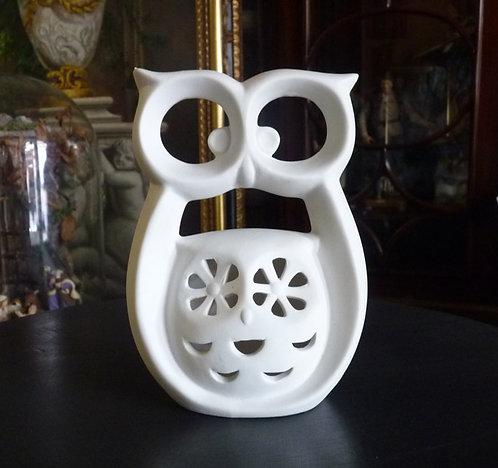 MF14 Gufo in ceramica bianca