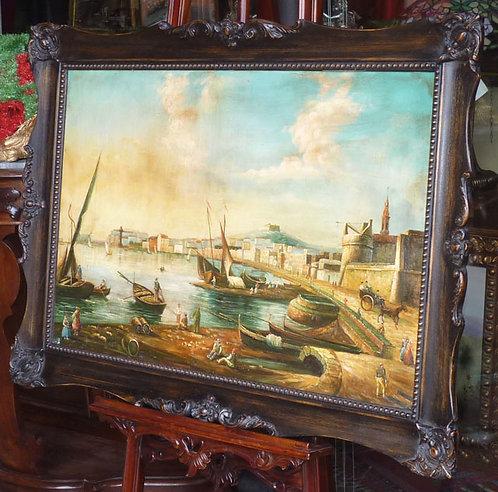 """N.84L """"Veduta Castel Sant'Elmo"""" dipinto ad olio su tela"""