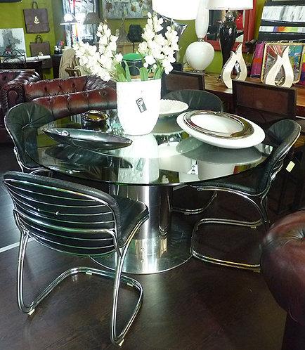 N.332 Tavolo In Vetro e Acciaio Con 4 Sedie Vintage