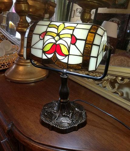 BB14 Lampada Da Scrivania Tiffany Con Piede In Bronzo