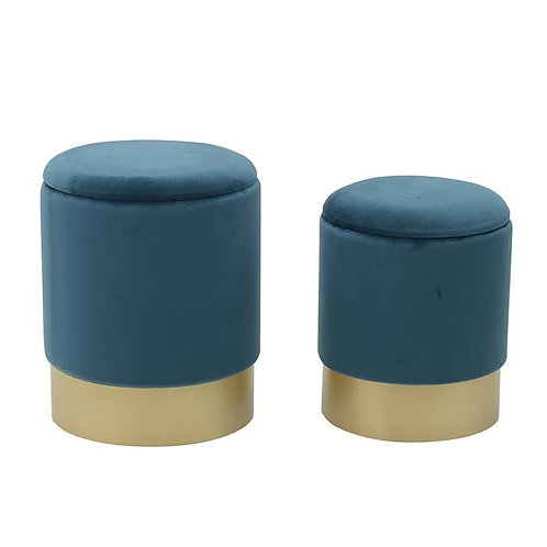 IN91 Set 2 Pouf Velvet Stool
