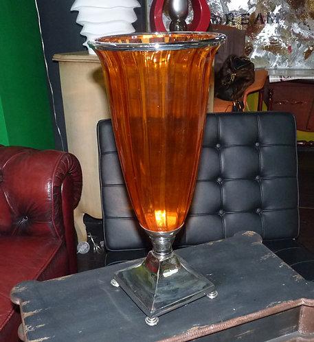 ST97 Vaso In Cristallo ColoratoCon Base In Acciaio