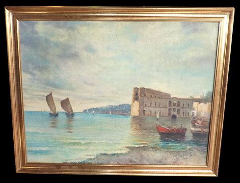 """N.56DA Dipinto Olio Su Tela """"Golfo Di Napoli"""""""