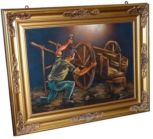 """N.19M """"Il carrettino"""" dipinto ad olio su tela"""