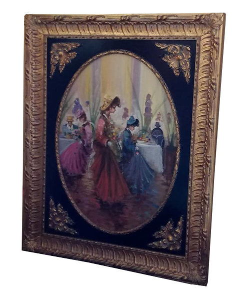 "N.15P ""Dame francesi"" A. Pecorelli olio su tela"