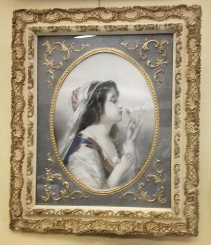"""N.68DA """"Ritratto di donna"""" acqurello di scuola francese primi '900"""